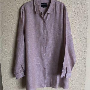 TAHARI Linen XL Beige Button Up Long Sleeves